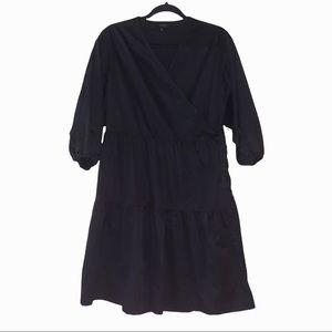 COS black tiered v neck wrap dress. 6